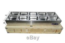 10-Pan Hot Well Steam Table Food Warmer Commercial Stainless Steel sneeze Guard