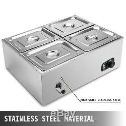110V 4-Pan Catering Food Warmer Steam Table Bain-Marie Buffet Restaurant 850 W