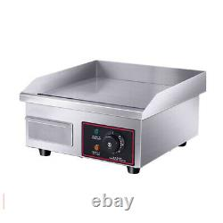 110V Stainless Steel Electric Griddle Flat Top Grill 1500W Plate BBQ Countertop