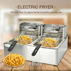16L Dual Tank Commercial Electric Countertop Deep Fryer French Basket Restaurant
