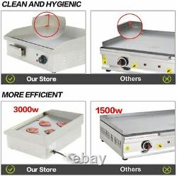 22'' Electric Countertop Griddle Commercial Teppanyaki Grill Stainless Steel New