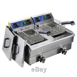 23.4L Commercial Electric Deep Fryer with Drain Timer Fast Food French Frys Cooker