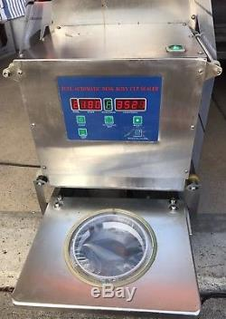 2 Automatic Digital Deli Cup Sealer Sealing Machine Stainless Steel Countertop