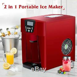 2 in 1 Electric Countertop Ice Maker Machine Compact Water Dispenser Red 26LBS