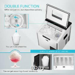 2in1 Electric Portable Countertop Ice Cube Maker & Ice Shaver Machine 44lbs/day