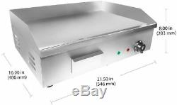 3000W 22 Commercial Electric Countertop Griddle Flat Top Grill Hot Plate BBQ