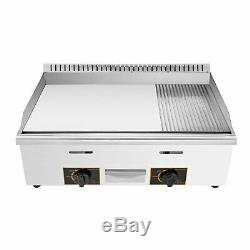 30 Commercial Griddle Grill Gas Griddle LPG & LNG Stainless Steel 2 Burners