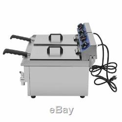 3.3KW Electric Countertop Deep Fryer Dual Tank Commercial Restaurant 26 Liter MY