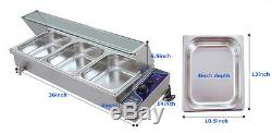 3-Pan Bain-Marie Food Warmer Steam Table Stainless Steel 110V 1500W 36 Inches