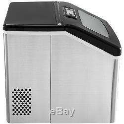 40Ibs/18kg Countertop Ice Maker Clear Ice Cubes Bar Stainless Steel
