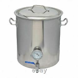 40L / 10 Gallon Stainless Steel Brewing Kettle with Ball Valve + Thermometer