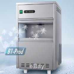 44lbs/24h Home Use Flake Snow Auto Ice Maker Stainless Steel Portable Free Stand