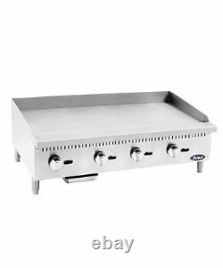 48 Flat Top Griddle Manual Commercial Restaurant Plancha Duty Nat Gas Free Lift