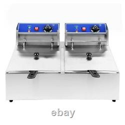 5000W 12L Electric Deep Fryer Dual Tank Commercial Restaurant Stainless Steel