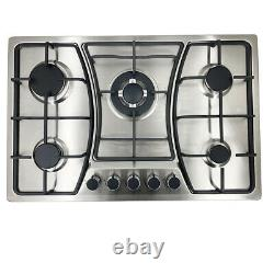 5 Burners 30 Cooktop Stainless Steel Gas Stove Built-In Propane Natural Gas US