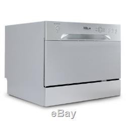 6 Place Settings Countertop Portable Compact Stainless Steel Dishwasher, Silver