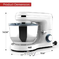 7QT Electric Food Stand Mixer 6 Speed 660W Tilt-Head Stainless Steel Bowl White