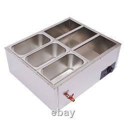 850W Food Warmer 6-Pan Steamer Stainless Steel Buffet Electric Countertop USA