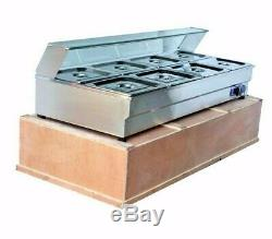 8-Pan Hot Well Bain-Marie Buffet Steam Table Food Warmer Stainless Steel 2000W