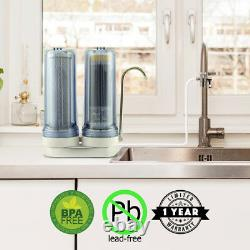 APEX EXPRT MR-2050 Dual Countertop Carbon Alkaline pH+ Water Filter System Clear