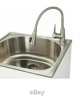 All-in-One Garage Stainless Steel Laundry Utility Sink with Storage Faucet New