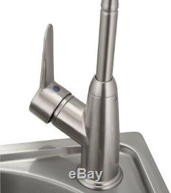 All-in-One Stainless Steel Laundry Utility Sink and Cabinet Modern Faucet