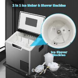 Anbull Stainless Ice Maker Machine Countertop 44Lbs/24H Ice Shaver withLCD 2-in-1