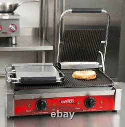Avantco P84 Grooved Double Commercial Panini Sandwich Press Grill Restaurant