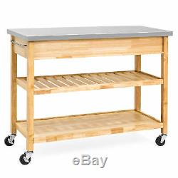 BCP Kitchen Island Utility Cart with Stainless Steel Countertop