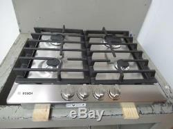 Bosch 500 Series 24 Inch Stainless Push-to-Turn Knobs Gas Cooktop NGM5456UC