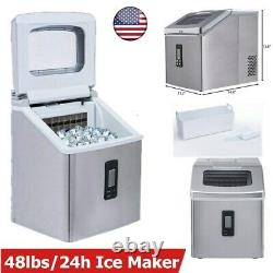 Built-in Commercial Ice Maker Stainless Steel Bar Home Ice Cube Machine 48lbs24h