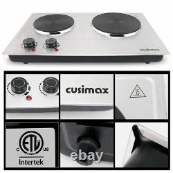 CUSIMAX 1800W Double Hot Plate, Stainless Steel Silver Countertop Burner Port