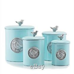Canister Set Bird Blue Kitchen Counter Top Storage Containers Flour Sugar Coffee