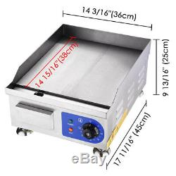 Commercial 1500W 14 Electric Countertop Griddle Flat Top Restaurant Grill BBQ