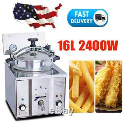 Commercial Electric Countertop Chicken Pressure Fryer 16L Stainless 2400W Home