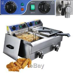 Commercial Electric Fryers 3000W 23.4L Countertop Dual Tank Restaurant Equipment