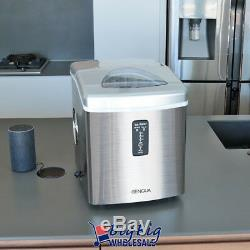 Compact Ice Maker Portable Stainless Steel Countertop 3-Size 33lbs Capacity/Day