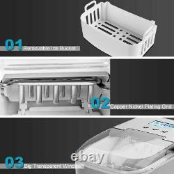 Costway Stainless Ice Maker Countertop 26LBS/24H LCD Display WithScoop Portable