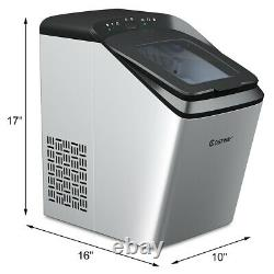 Costway Stainless Ice Maker Countertop 33Lbs/24H Self-Clean Function with Scoop