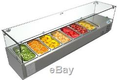 Countertop Condiment Refrigerated Prep Station with Glass Sneeze Guard 59 7 Pan