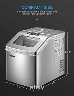 Countertop Ice Maker Machine 40lbs/24H Portable Compact Large Storage Basket