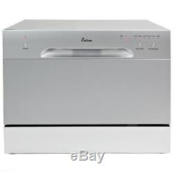 Countertop Stainless Steel Dishwasher Portable Compact with 6 Wash Cycles- Silver
