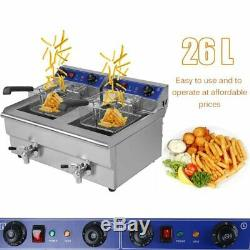 Electric Countertop Deep Fryer 26L Dual Tank Commercial Restaurant Meat WW