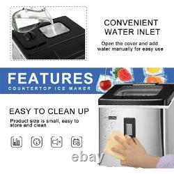 Electric Countertop Square Ice Cube Maker Machine with Scoop 40lbs/day ETL Listed