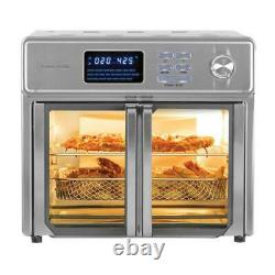 Extra Large 26 qt. Stainless Steel Air Fryer Kitchen Countertop Oven with Trays