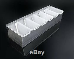 Fruit Condiment Dispenser Salad Bar Food Tray Picnic Party Countertop Stainless
