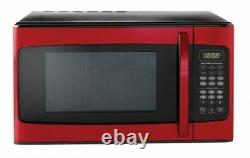 Hamilton beach 1.1 cu ft Microwave Red Countertop Home Kitchen Heating Cooking