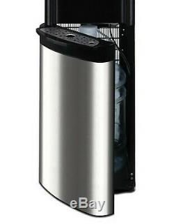 Hot Cold Water Dispenser Black 5 Gallon Capacity Bottom Loading Tank Stainless