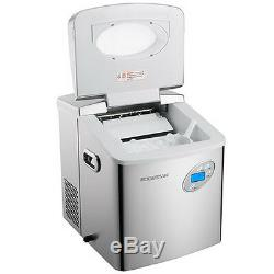 Large 50 Lb Stainless Steel Countertop Ice Maker, Compact Cube IceMaker Machine