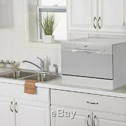 Mini Compact Countertop 6 Wash Cycles Dishwasher Machine Stainless Steel, Silver